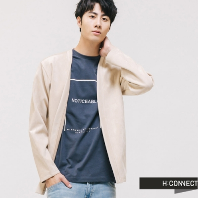 H:CONNECT 韓國品牌 男裝 - 文字框棉質T-shirt-藍