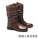 中筒靴 MELROSE 經典簡約時尚牛皮皺褶低跟中筒靴-咖