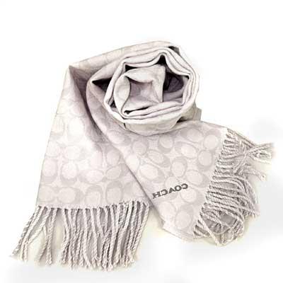 COACH 粉筆白色雙面羊毛流蘇保暖圍巾(183x31cm)