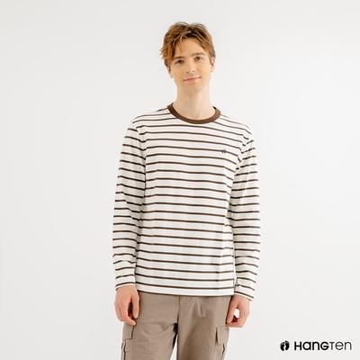 Hang Ten-男裝-厚磅腳丫長袖T恤-棕白條紋