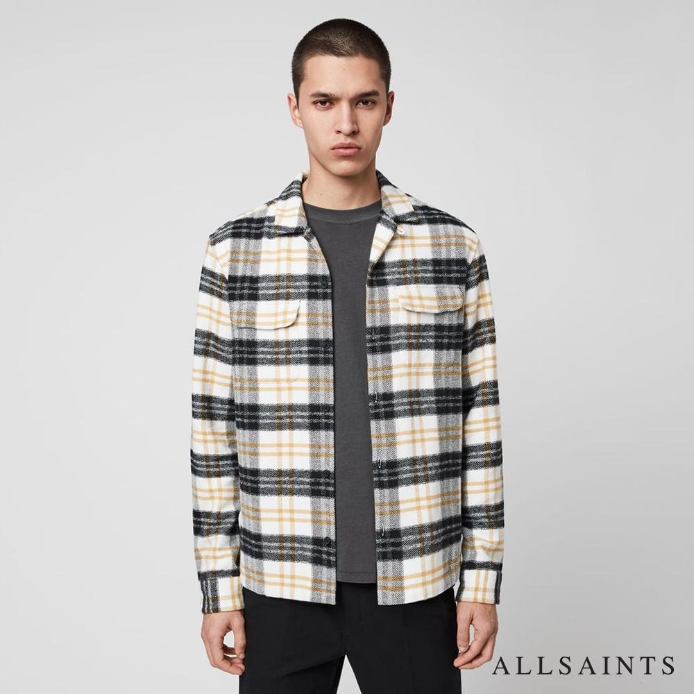 ALLSAINTS LENADO 率性英倫格紋純棉長袖襯衫-白底黑格