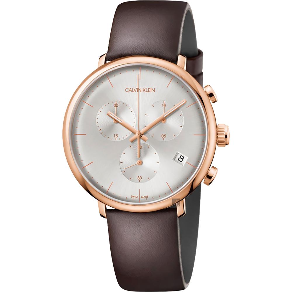 Calvin Klein CK High Noon 計時手錶-玫瑰金框x咖啡/43mm