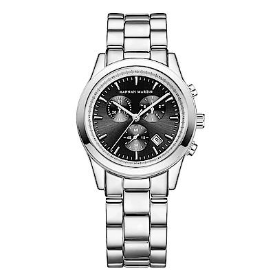 HANNAH MARTIN  勝利密碼裝飾三眼不鏽鋼腕錶(HM-1039-Y)黑x38mm