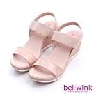 bellwink 彈性繃條平底增高涼鞋-粉色-b9805pk