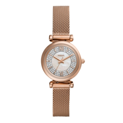 FOSSIL閃耀晶鑽貝殼面腕錶-玫瑰金(ES4836)/28mm
