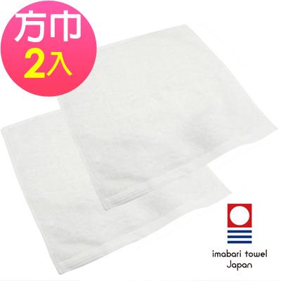 日本今治 絹綿美人極柔觸感方巾-雪白(超值2入組)