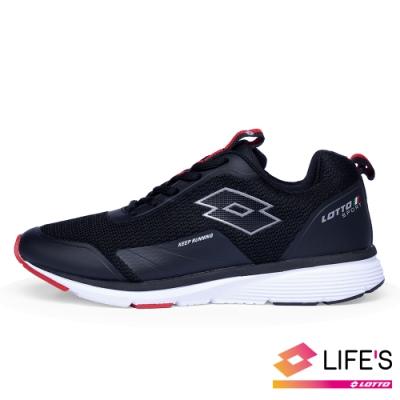 LOTTO 義大利 男 OVERTHROW 避震跑鞋(黑紅)