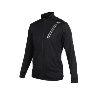MIZUNO 男針織運動外套-美津濃 慢跑 路跑 立領外套 黑銀