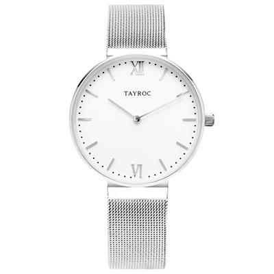 TAYROC  浪漫奢華時尚米蘭腕錶-銀X白(TY147)-36mm