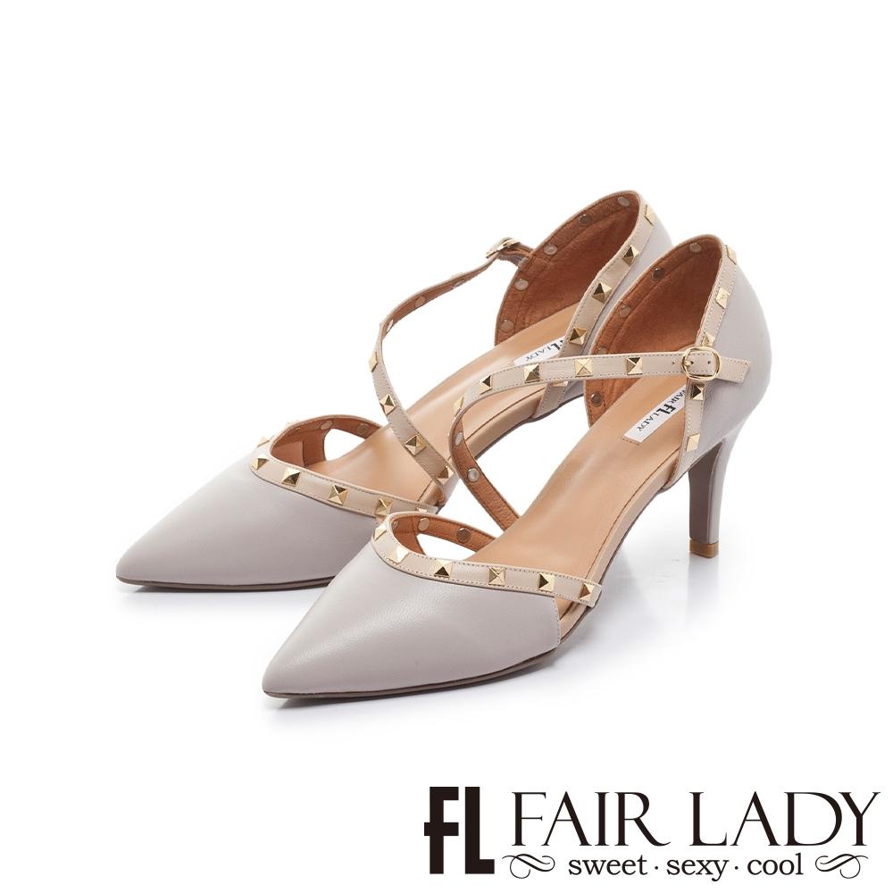 FAIR LADY  優雅小姐 尖頭繞帶鉚釘高跟涼鞋 薰衣草