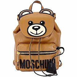 MOSCHINO Teddy 泰迪熊造型小牛皮後背包(焦糖咖)
