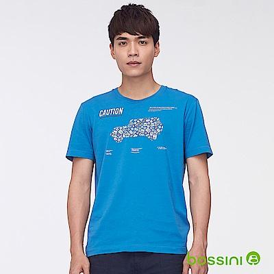 bossini男裝-印花短袖T恤46寶藍
