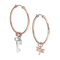Emporio Armani亞曼尼 蜻蜓鎖頭鑰匙造型C圈耳環 玫瑰金