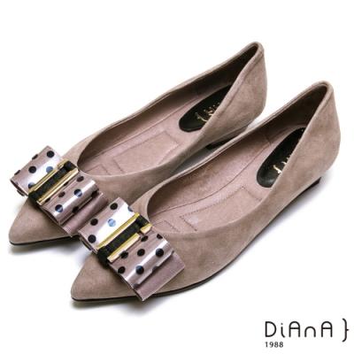 DIANA 麂皮點點蝴蝶結尖頭平底鞋-復古時尚-灰