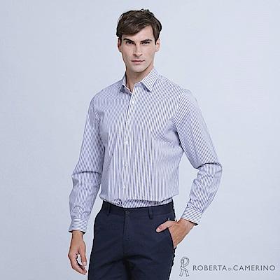 ROBERTA諾貝達 清爽休閒 合身版 條紋長袖襯衫  藍色