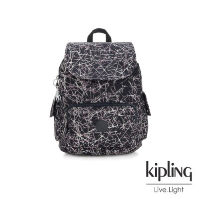 Kipling 英式粉漆塗鴉拉鍊掀蓋後背包-CITY PACK S