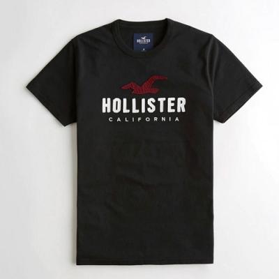 Hollister HCO 大海鷗LOGO 貼布文字 短T(男/黑色-M)