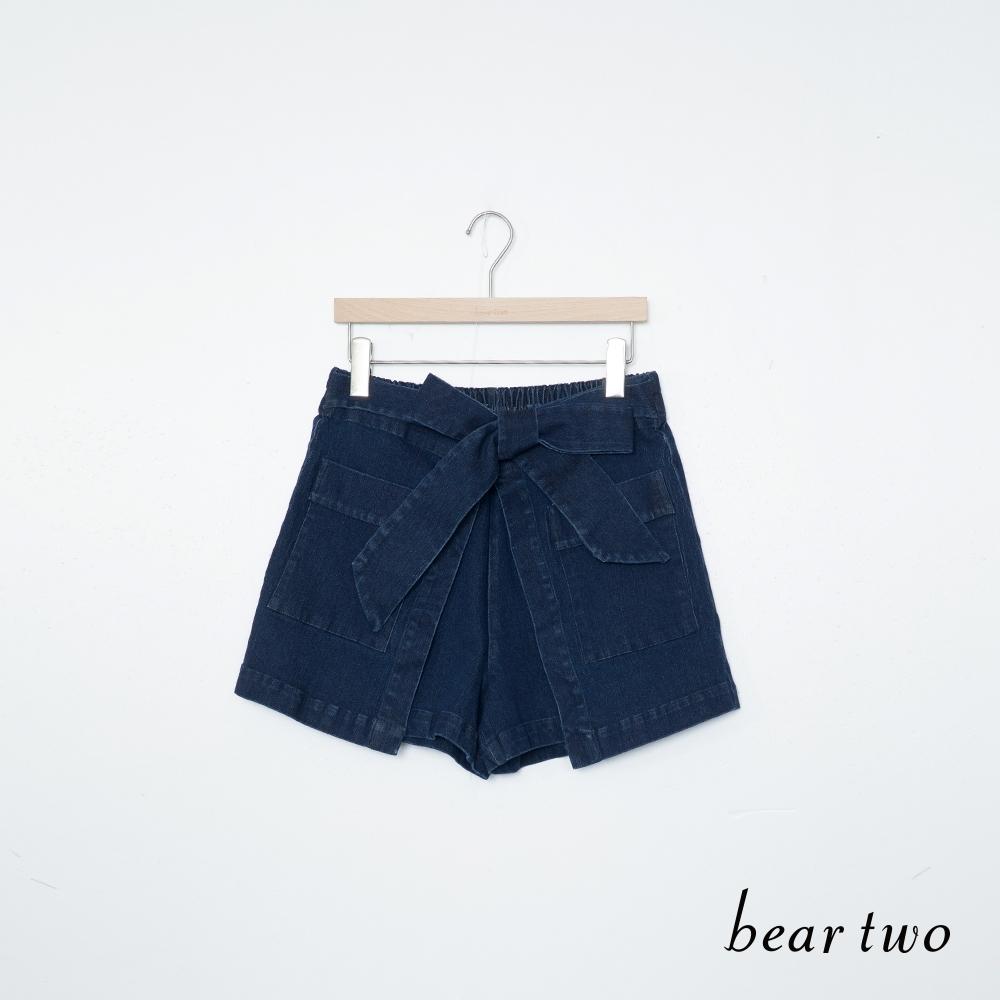 beartwo 牛仔綁帶裙褲-深藍