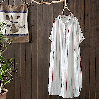 亞麻白色襯衫裙拼色條紋襯衣洋裝/設計所在Y4331