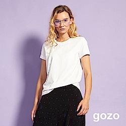 gozo 表情印花領條帶造型棉T(白色)