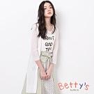 betty's貝蒂思 星星鏤空開衩針織長版罩衫(白色)