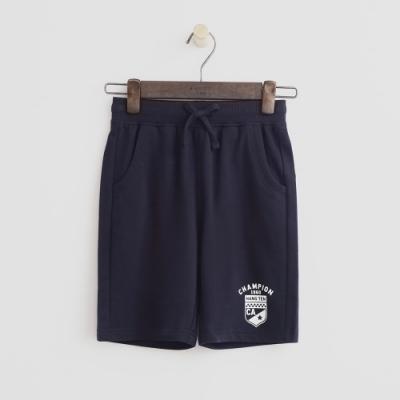 Hang Ten -童裝 - 純色盾牌logo運動棉短褲 - 深藍