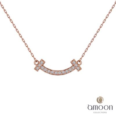 amoon 戀戀東京系列 喜悅 18K金鑽石項鍊-玫瑰金