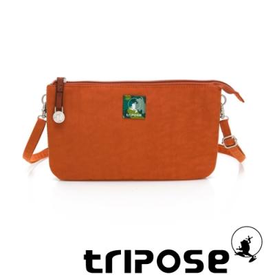 tripose漫遊系列岩紋x微皺尼龍斜背皮夾包 橘色