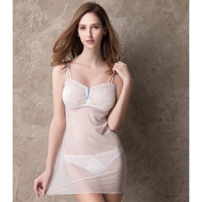 莎薇 b.tempt d M-L細帶連身襯裙(白) 性感蕾絲-舒適打底