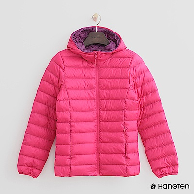 Hang Ten - 女裝 - ThermoContro-立領連帽輕羽絨外套-桃紅
