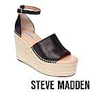 STEVE MADDEN-SWAY 悠閒度假草編楔型涼鞋-黑色