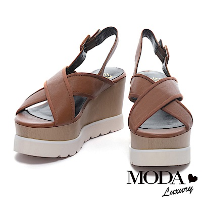 涼鞋 MODA Luxury 質感清新交叉帶牛皮厚底楔型涼鞋-棕