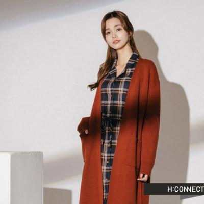 H:CONNECT 韓國品牌 女裝-長板開襟針織外套-棕