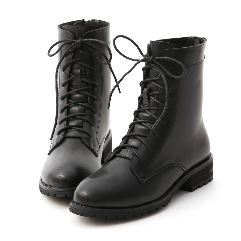 D+AF 俐落酷感.後拉鍊綁帶中筒馬汀靴*黑