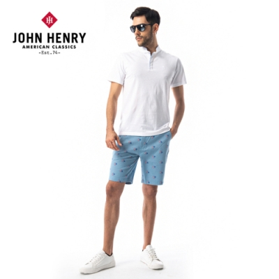 【JOHN HENRY】海軍船錨印花短褲-藍