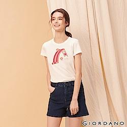 GIORDANO 女裝英文標語印花短袖T恤-29 標誌白