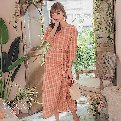 東京著衣-YOCO 浪漫時尚側腰抓皺綁帶格紋洋裝-S.M.L(共兩色)
