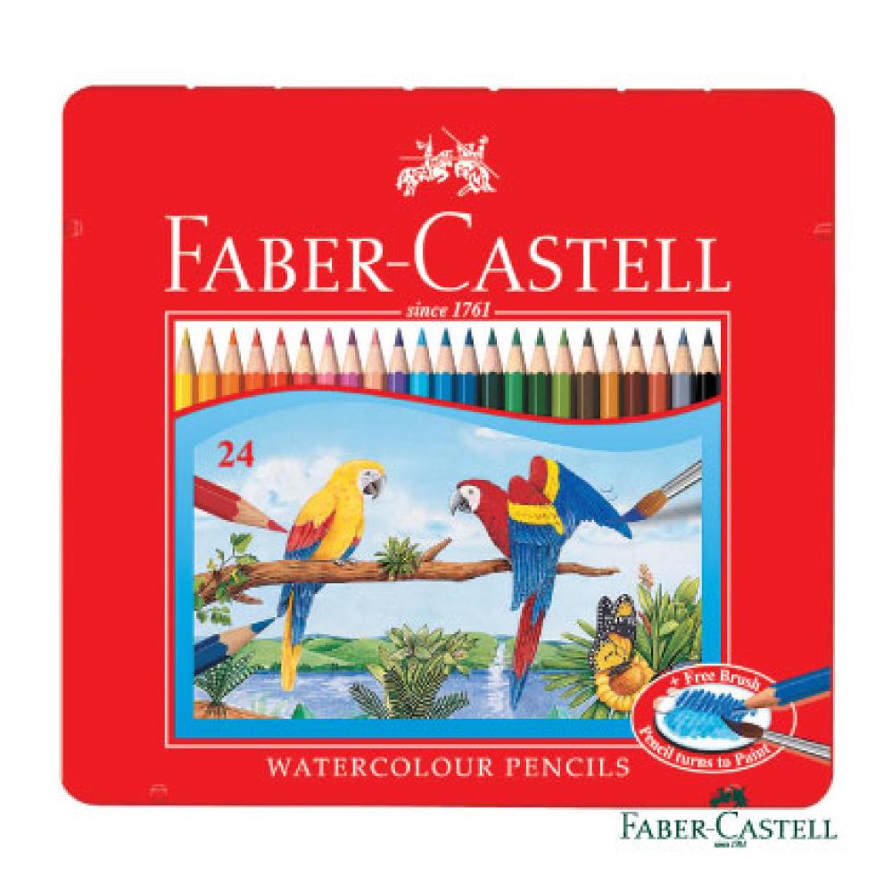 Faber-Castell紅色系水性彩色鉛筆-24色鐵盒裝