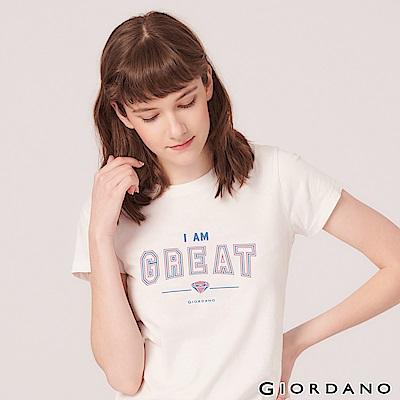 GIORDANO 女裝棉質圓領標語印花T恤-01 標誌白