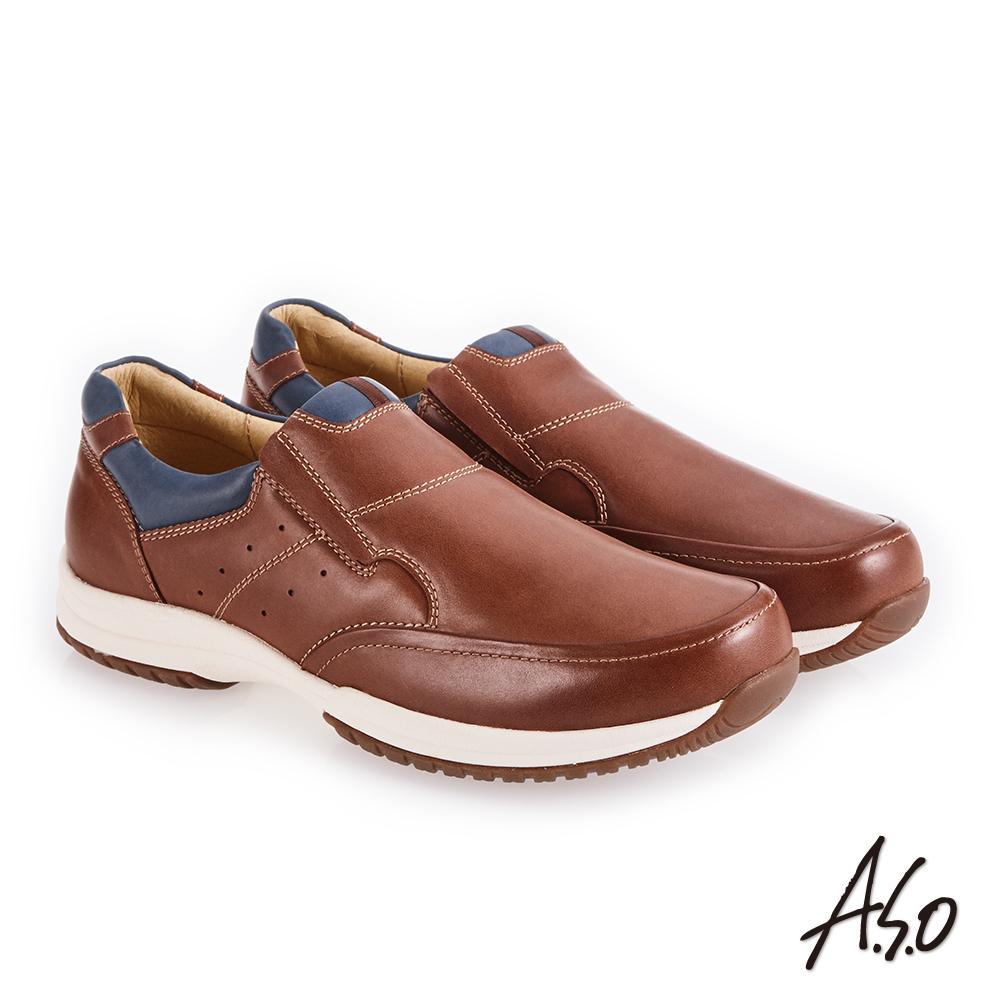 A.S.O 3D超動能 雙色臘感鞋面休閒鞋 茶