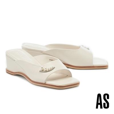 拖鞋 AS 優雅氣質珍珠鑽釦全真皮方頭楔型高跟拖鞋-白