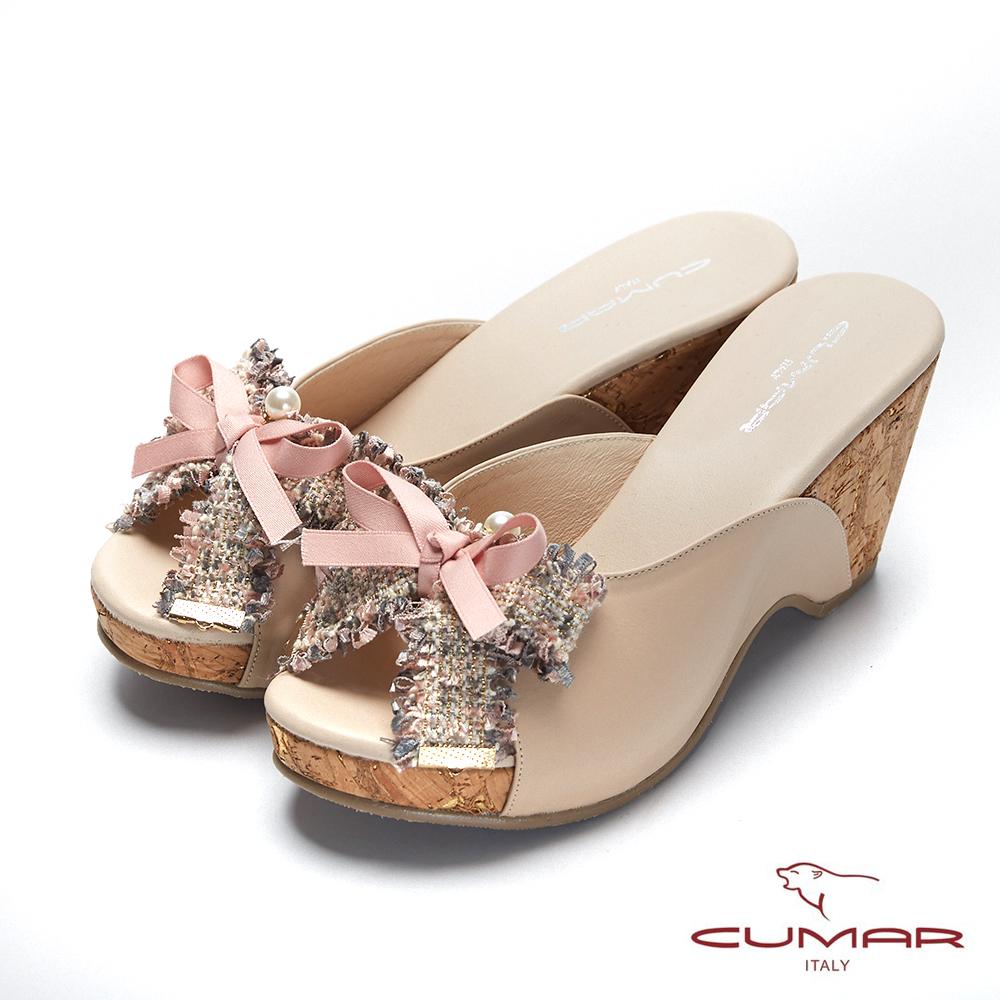 CUMAR普羅旺斯莊園- 軟呢織帶蝴蝶結厚底涼拖鞋-米卡