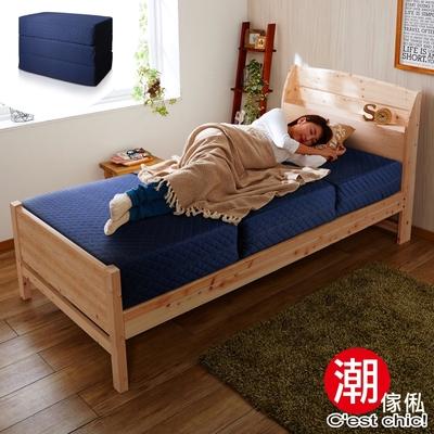 C est Chic_二代目日式三折獨立筒彈簧床墊3.5尺(超厚23cm)-藍 W105*D190*H23cm