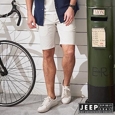 JEEP 時尚型男素面休閒短褲-灰白色