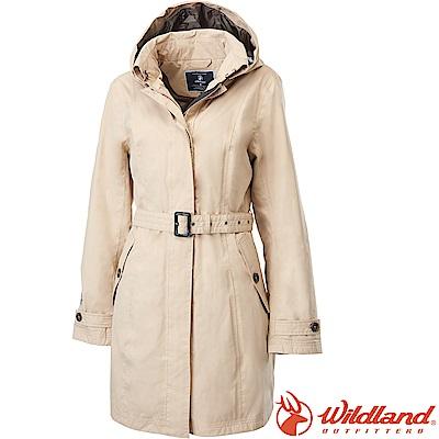 Wildland 荒野 0A62909-82卡其 女長版防水防風時尚外套