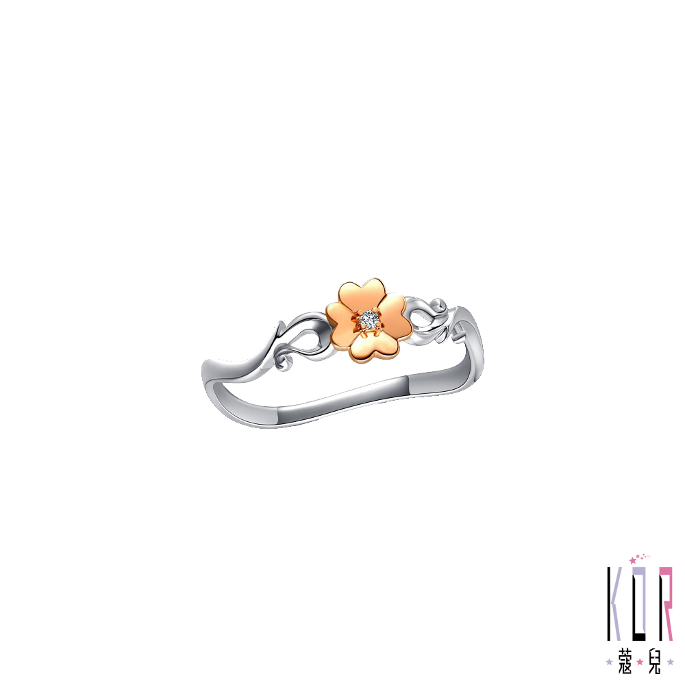 K'OR蔻兒 心花開鑽石/玫瑰K金/白鋼女戒指