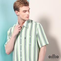 oillio歐洲貴族 男裝 短袖超柔防皺襯衫 直條紋款 紳士口袋 綠色