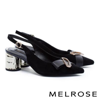 高跟鞋 MELROSE 摩登時尚晶鑽別針造型後繫帶尖頭粗高跟鞋-黑