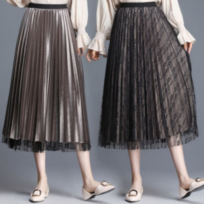 La Belleza兩面穿假兩件蕾絲網紗裙拼接絲絨百褶裙光澤感大擺裙
