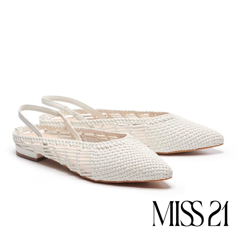 涼鞋 MISS 21慵懶手工風編織造型尖頭粗跟涼鞋-白